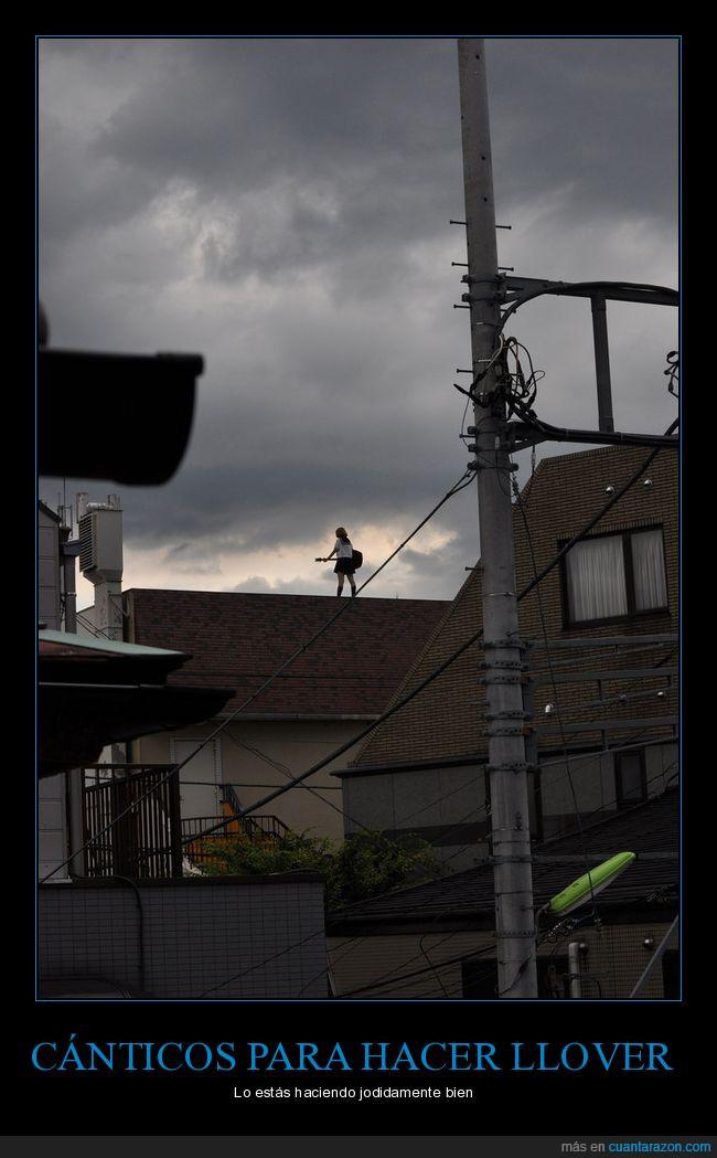 chica,guitarra,nubes,tejado
