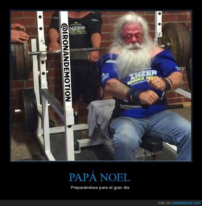 cachas,día,fuerza,gimnasio,navidad,papa noel