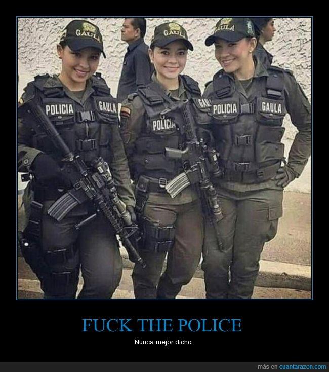 cara,chicas,mirada,policía
