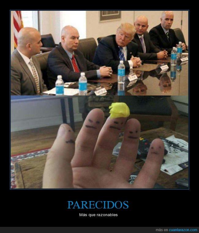 dedos,Donald Trump,humor,reunión