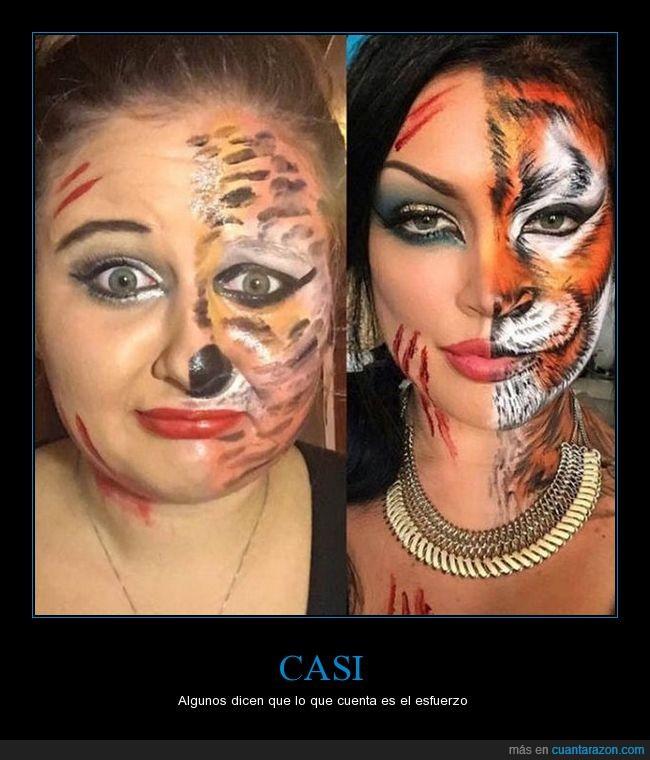 chica,fail,jaja,maquillaje,tigre