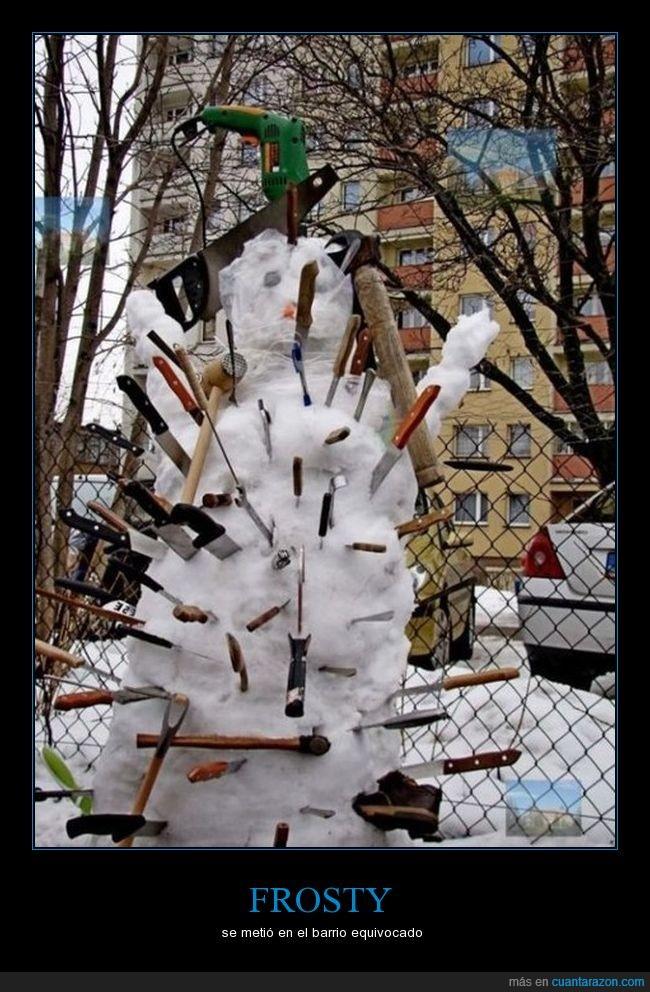 armas,cuchillos,frosty,muñeco,nieve,taladro