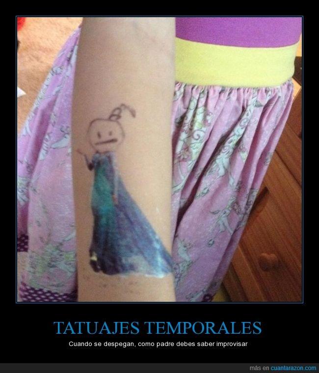 frozen,improvisar,jaja,niña,tatuaje