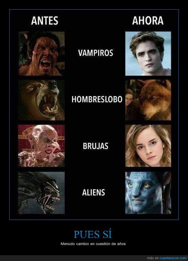 aliens,antes,brujas,después,hombres lobo,vampiros