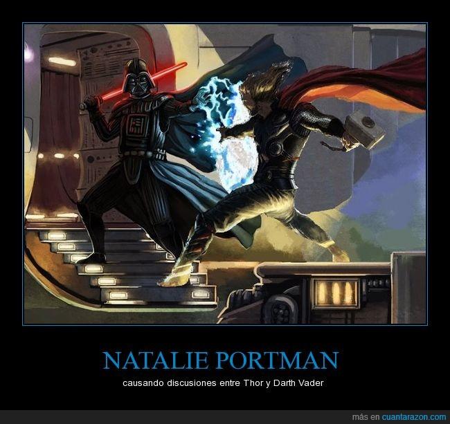 Darth Vader,discusiones,Natalie Portman,pelea,Thor