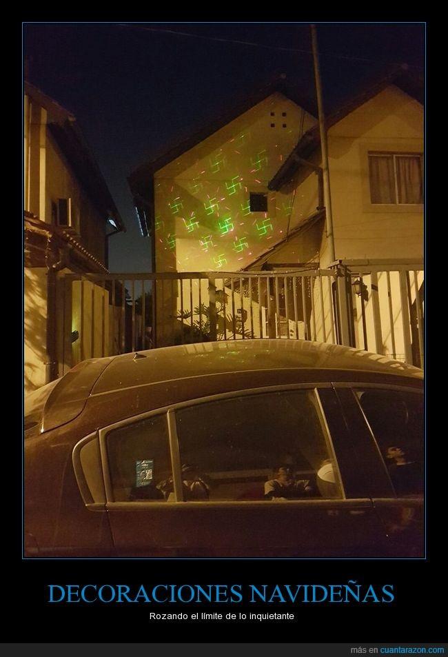 decoración,esvástica,luces,navidad,nazi