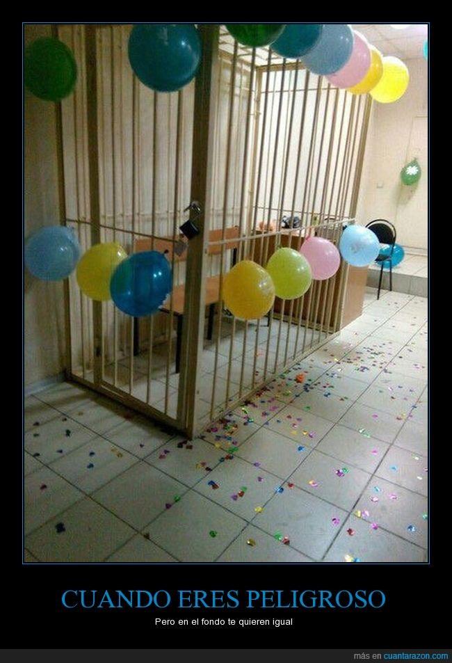 globos,jaula,prisión,reja
