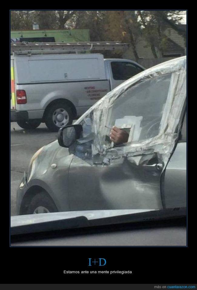agujero,cigarrillo,coche,fumar,ventanilla