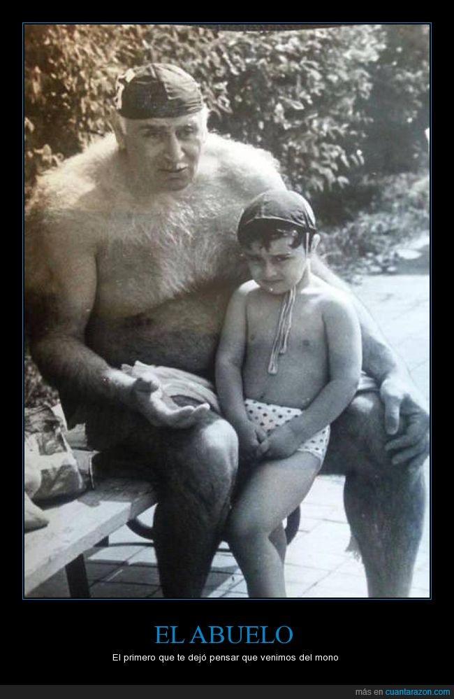 abuelo,nieto,niño,peludo,vellos