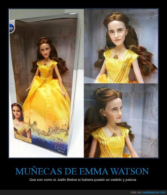 bella,bella y bestia,emma watson,justin bieber con peluca,muñeca,wtf