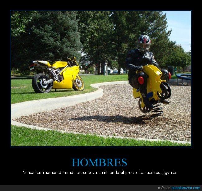 hombres,juguetes,madurar,moto