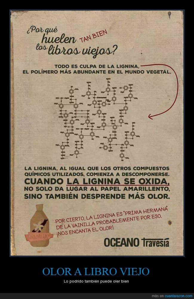 Libro,Libro viejo,lignina,olor,óxido,vainilla