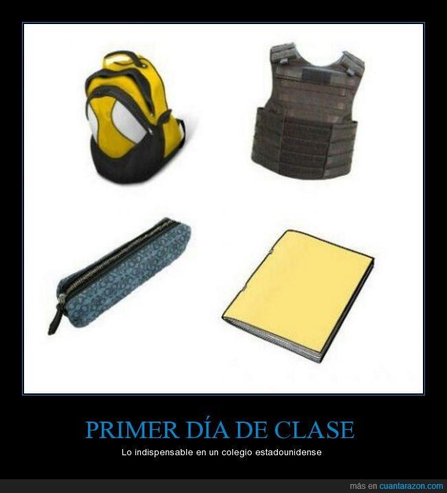 balas,chaleco,clases,escuela,masacre,utiles