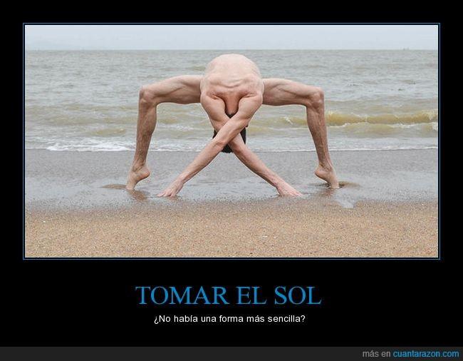 contorsionista,Playa,tomar el sol