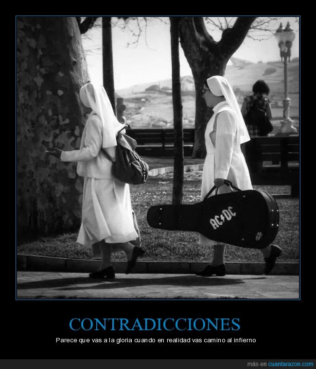 AC DC,estuche,guitarra,monjas,rock