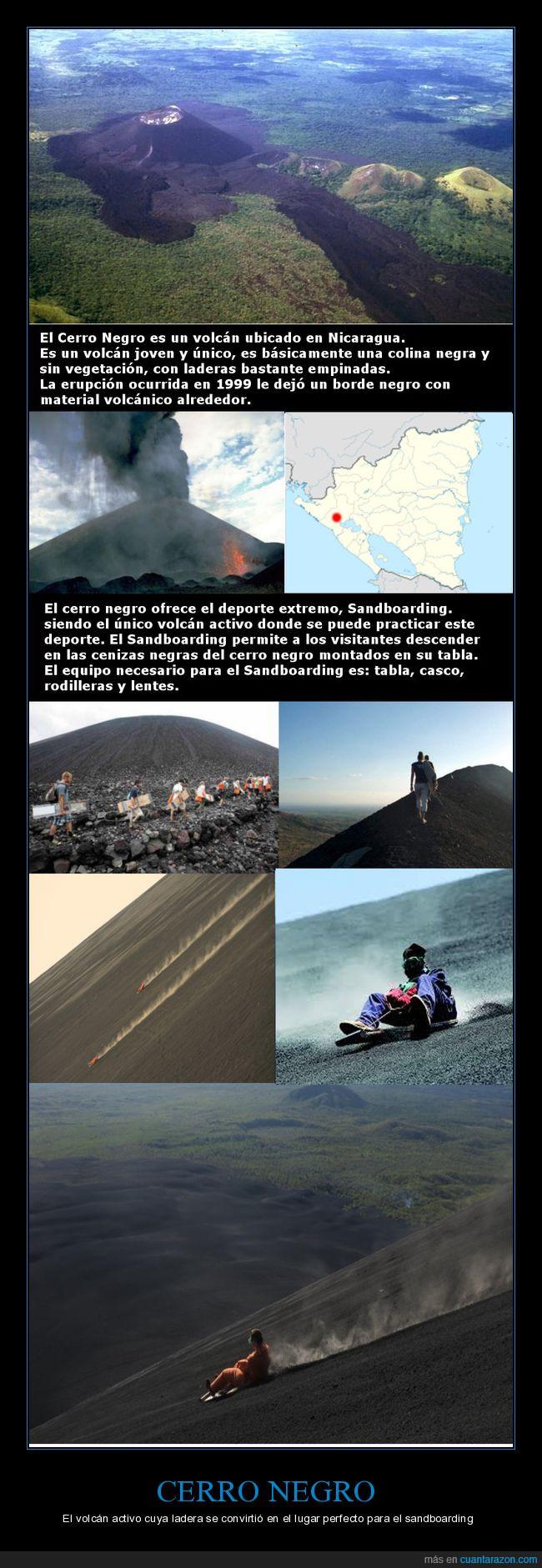 Cerro Negro,Cuesta una hora en subir a pie,Los mas expertos alcanzan velocidades de hasta 95 kph,Mas de 600 metros de altura,Menos de un minuto en bajar,Nicaragua,Sandboarding,Volcán,Volcán-surf