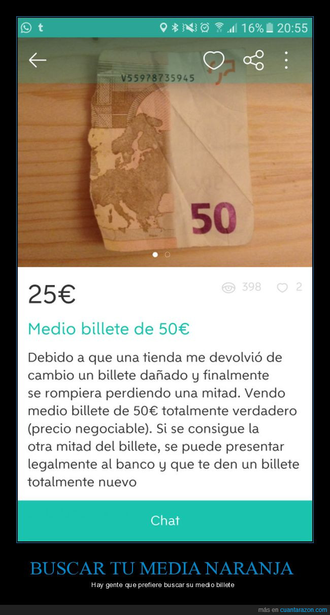 50€,billete,roto,wallapop
