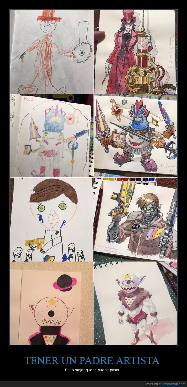 Cuánta razón! / Este padre artista de anime coge los dibujos de su ...