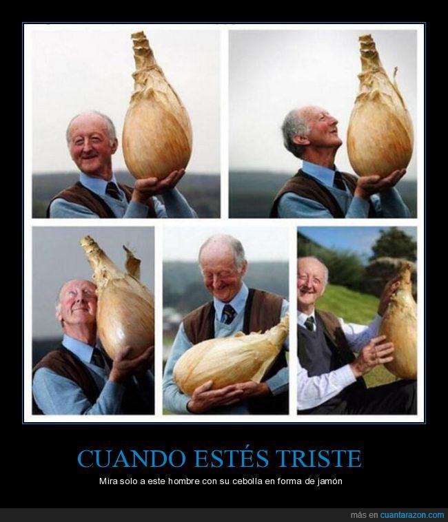 abuelo,cebolla gigante,contento,hortaliza gigante
