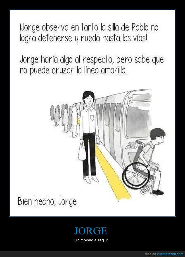 humor,jorge,silla de ruedas,subte,tren,viñeta