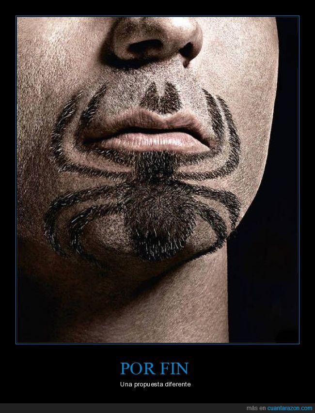 araña,barba,boca,perilla