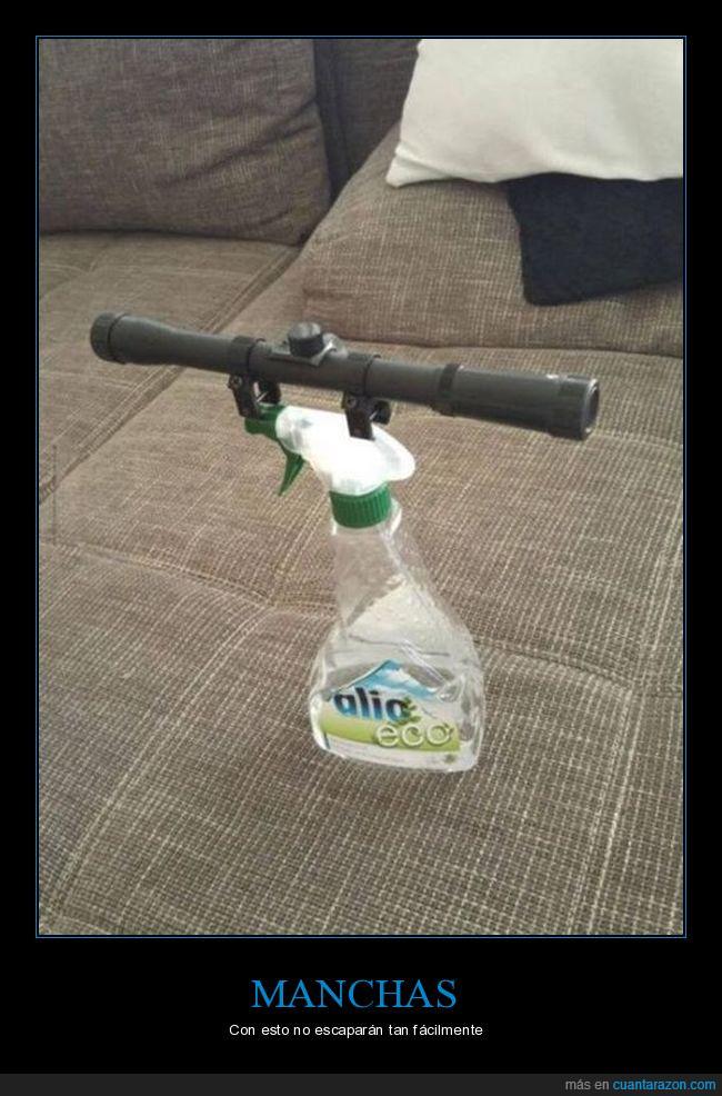 limpiar,manchas,mira telescópica,precisión,spray