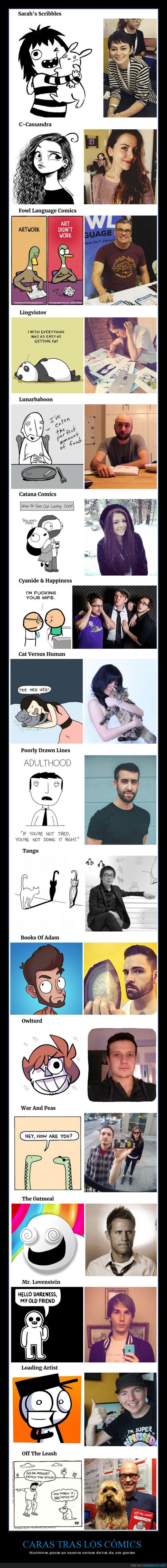 caras detrás,cómics,dibujantes,personajes