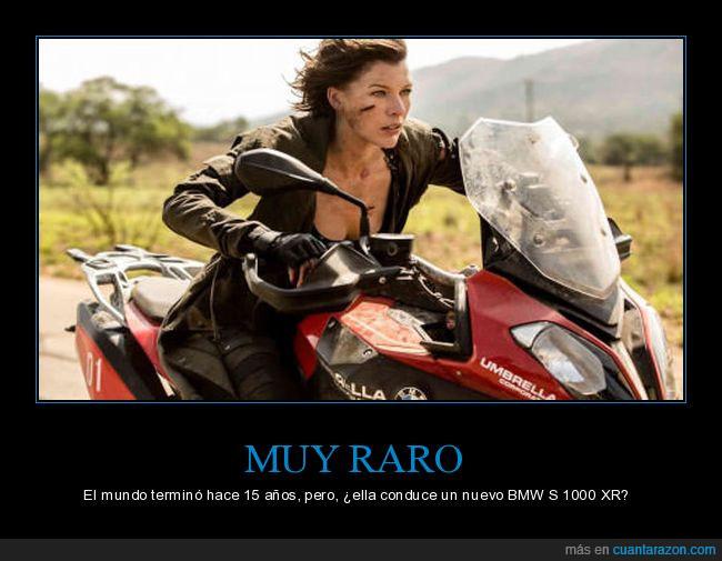 BMW,Milla Jovovich,motocicleta,Umbrella