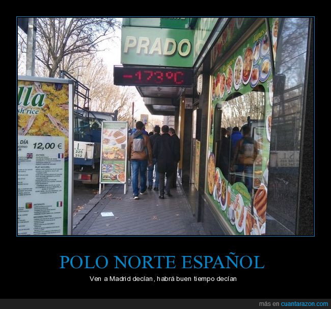 España,frío,Madrid,polo norte,temperaturas