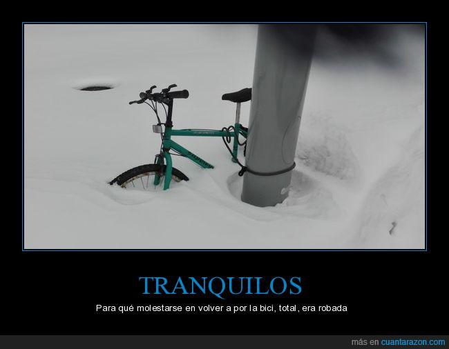 bicicleta,calle,colgada,nieve,poste