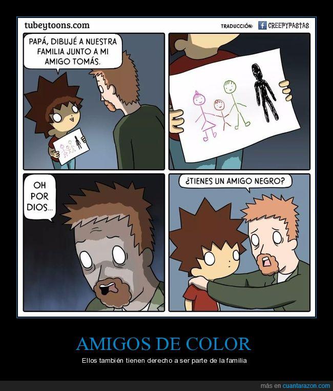 amigo,dibujo,familia,negro,siniestro
