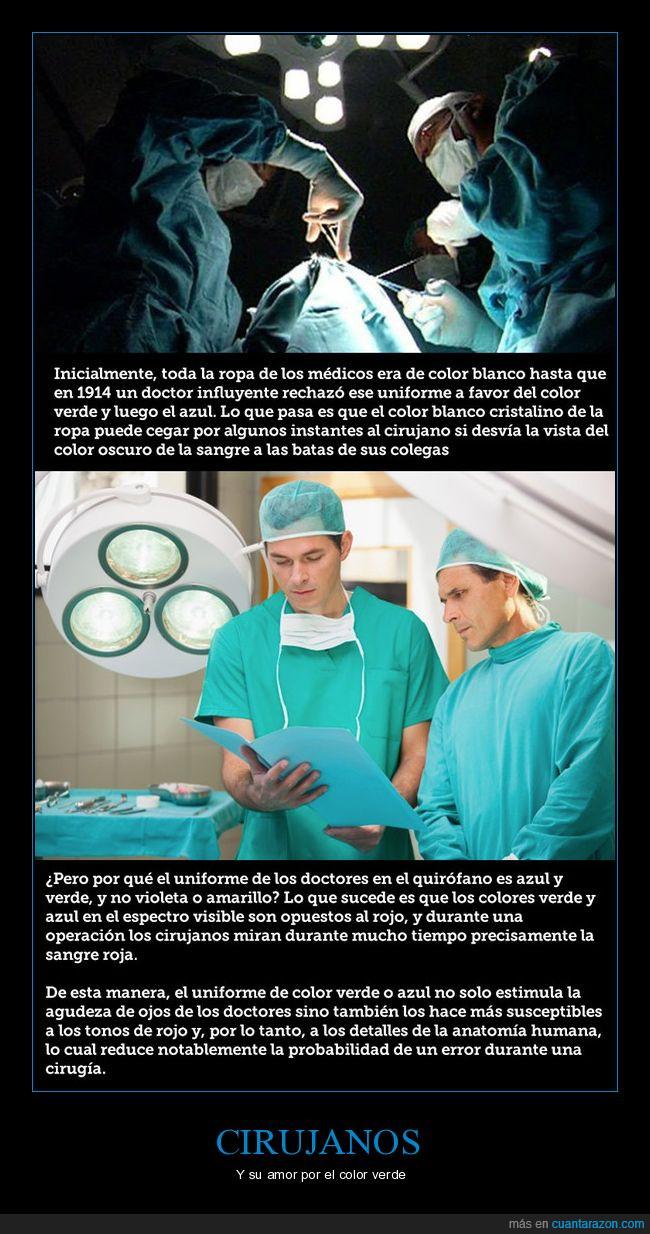 cirujanos,color,color verde,operar,sangre,verde