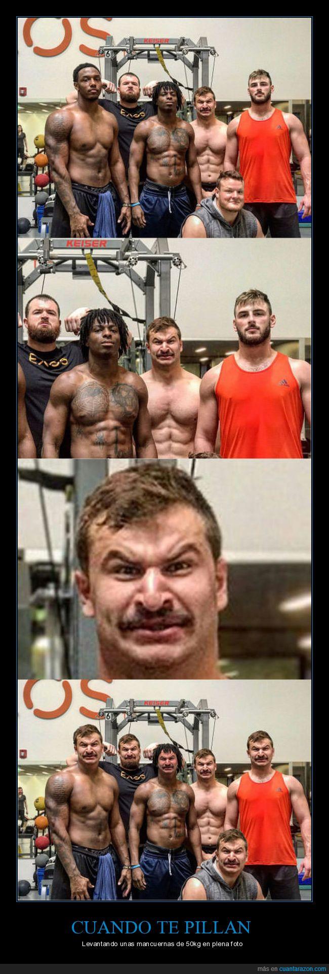 gym,la misma cara,photobomb