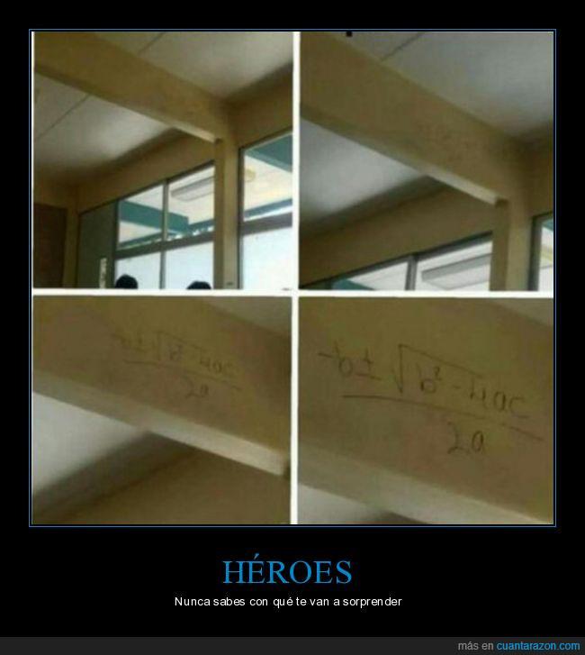 examen,fórmula,héroes,pared
