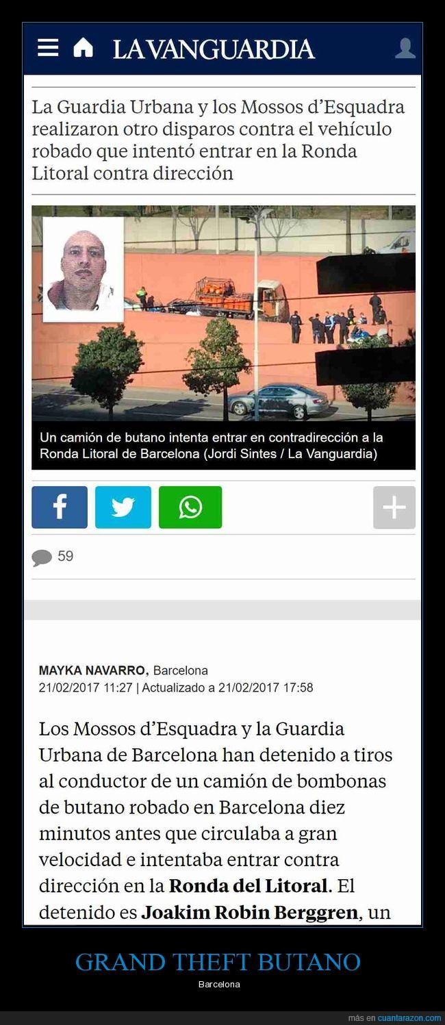 butano,contra dirección,GTA,guardia urbana,mossos,tiros