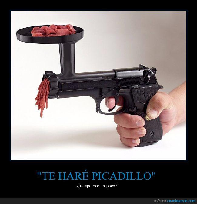 carne,cocina,picadillo,picar,pistola