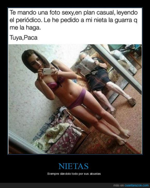 abuela,bikini,chica,selfie
