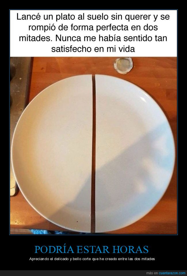 dos mitades,plato,roto