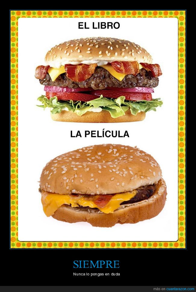hamburguesa,libro,película