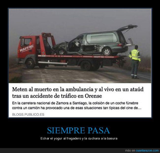 accidente,ambulancia,ataúd,muerto