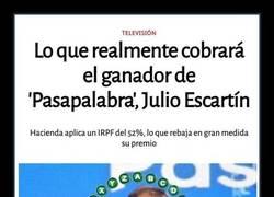 Enlace a Lo que realmente cobrará el ganador de ayer de 'Pasapalabra', Julio Escartín