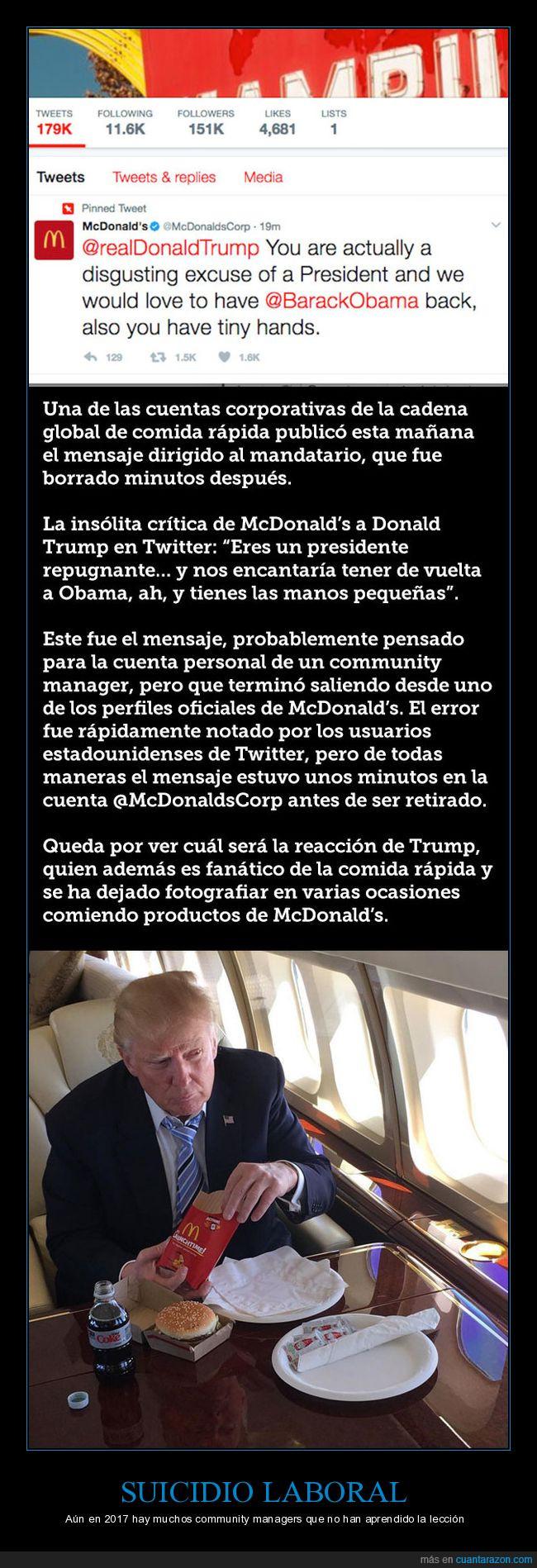 donald trump,liada,mcdonalds,odio,tweet
