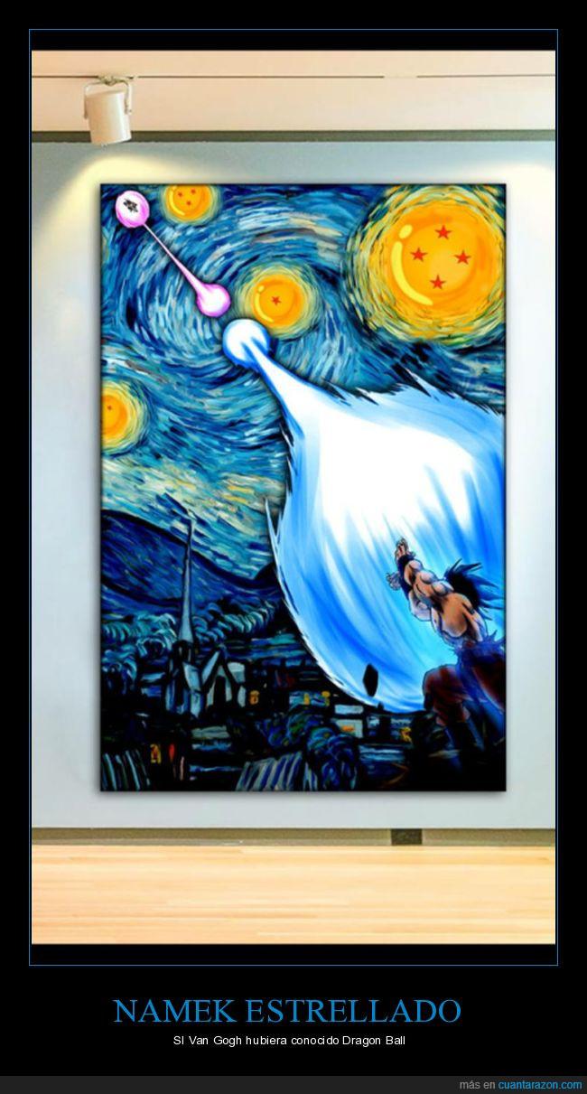arte,dragon ball,goku,noche estrellada,van gogh