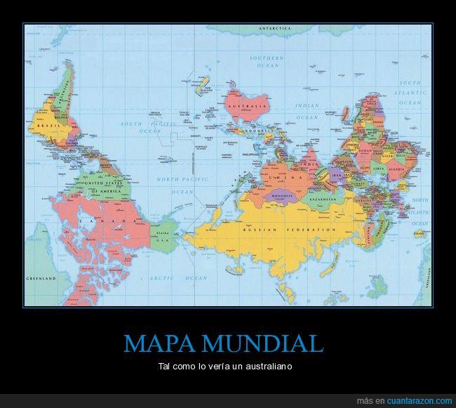 australia,del revés,mapa