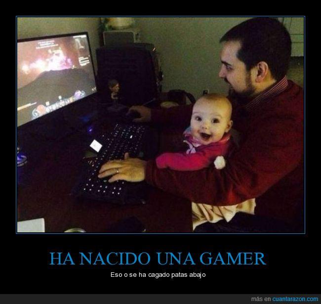 bebé,emocionada,gamer,niña