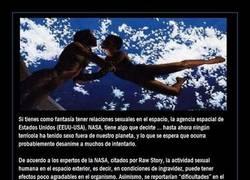 Enlace a Si tu fantasía es tener sexo en el espacio, deberías leer esto, las consecuencias pueden ser...