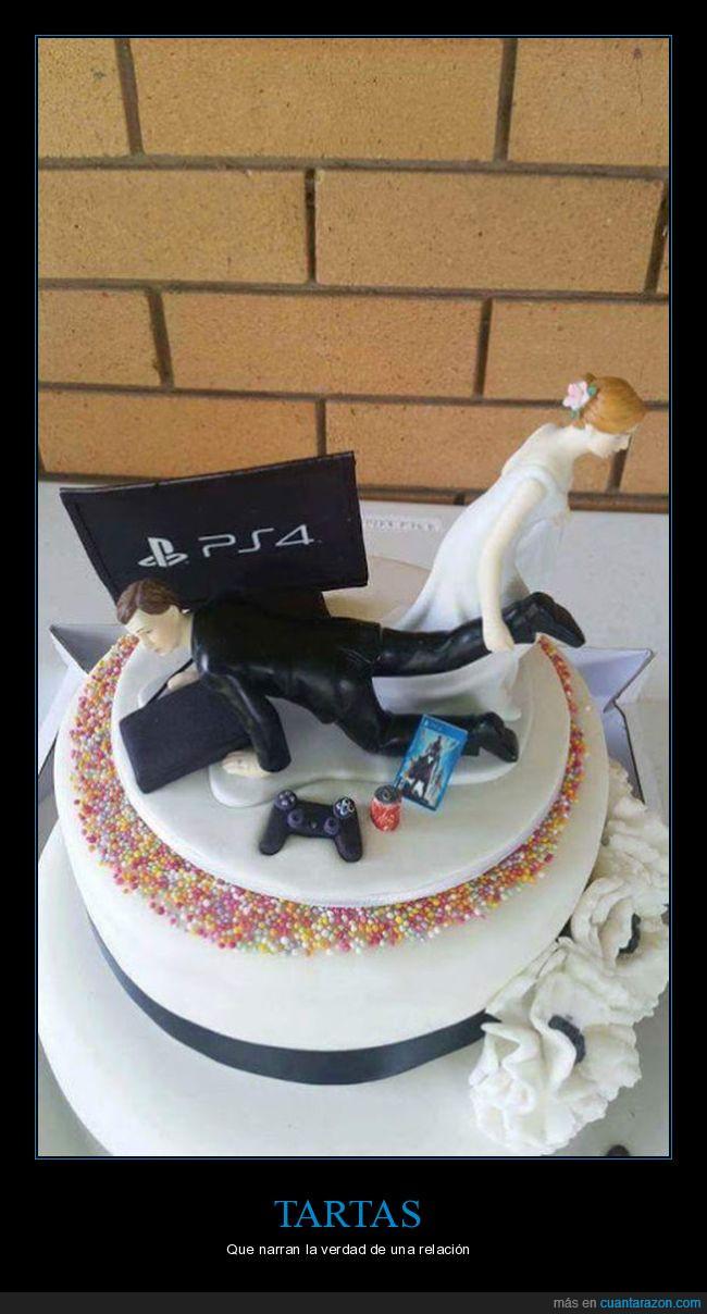 marido,mujer,ps4,relación,tarta,videojuegos