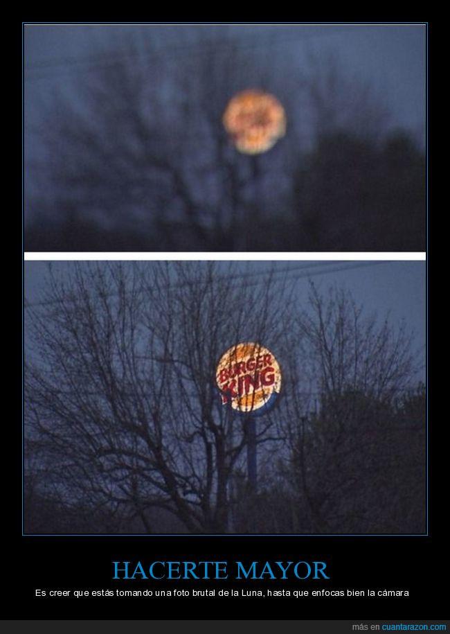 burger king,fotografía,letrero,luna,noche