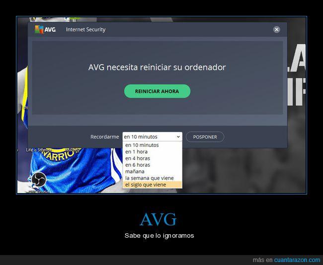 AVG,posponer,recordatorio,siglo que viene
