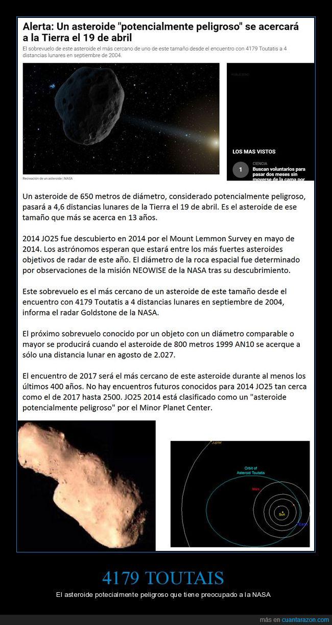 4179 TOUTAIS,asteroide,curiosidad,espacio,NASA,órbita,peligroso